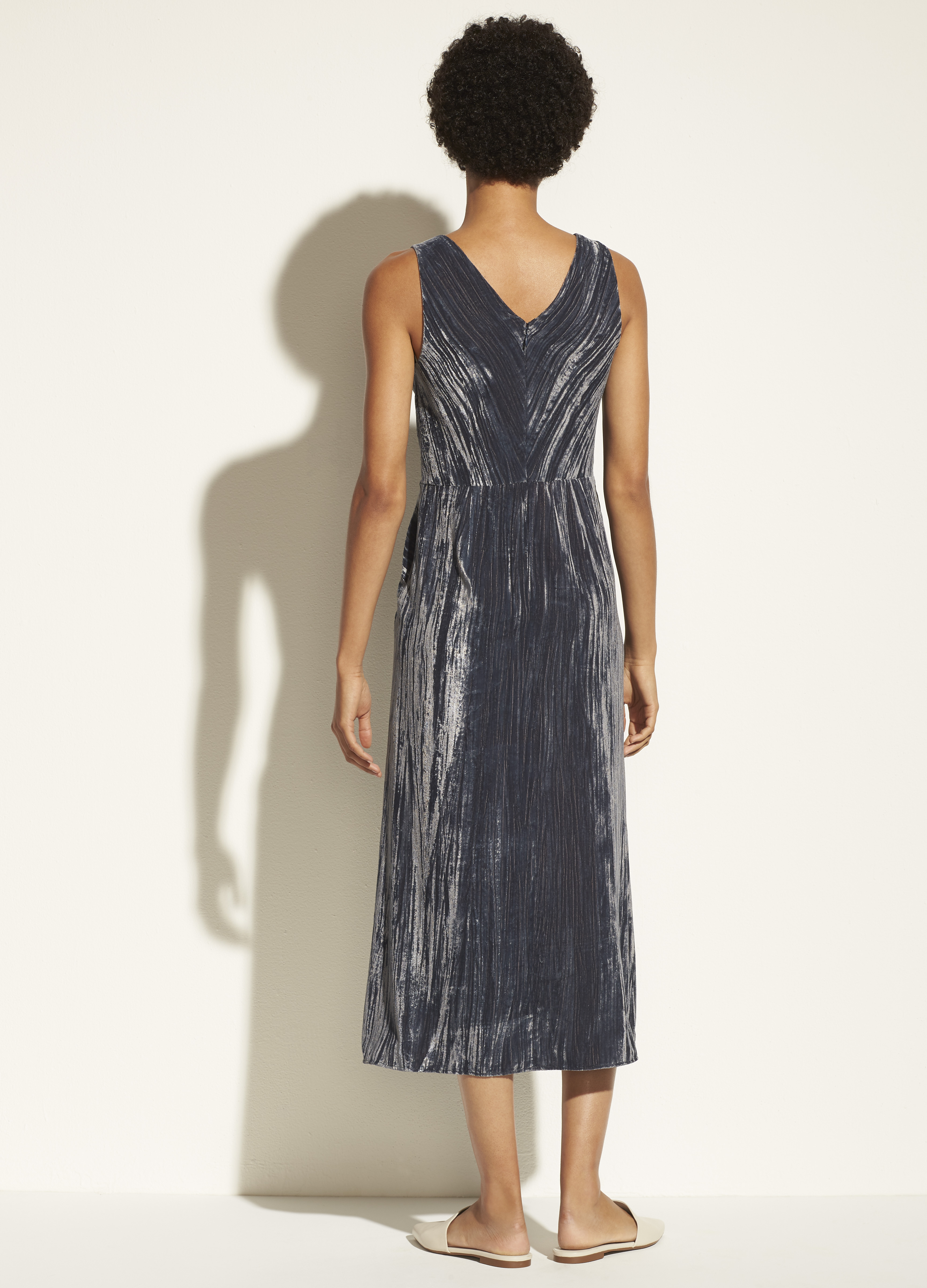Ruched Velvet V-Neck Dress