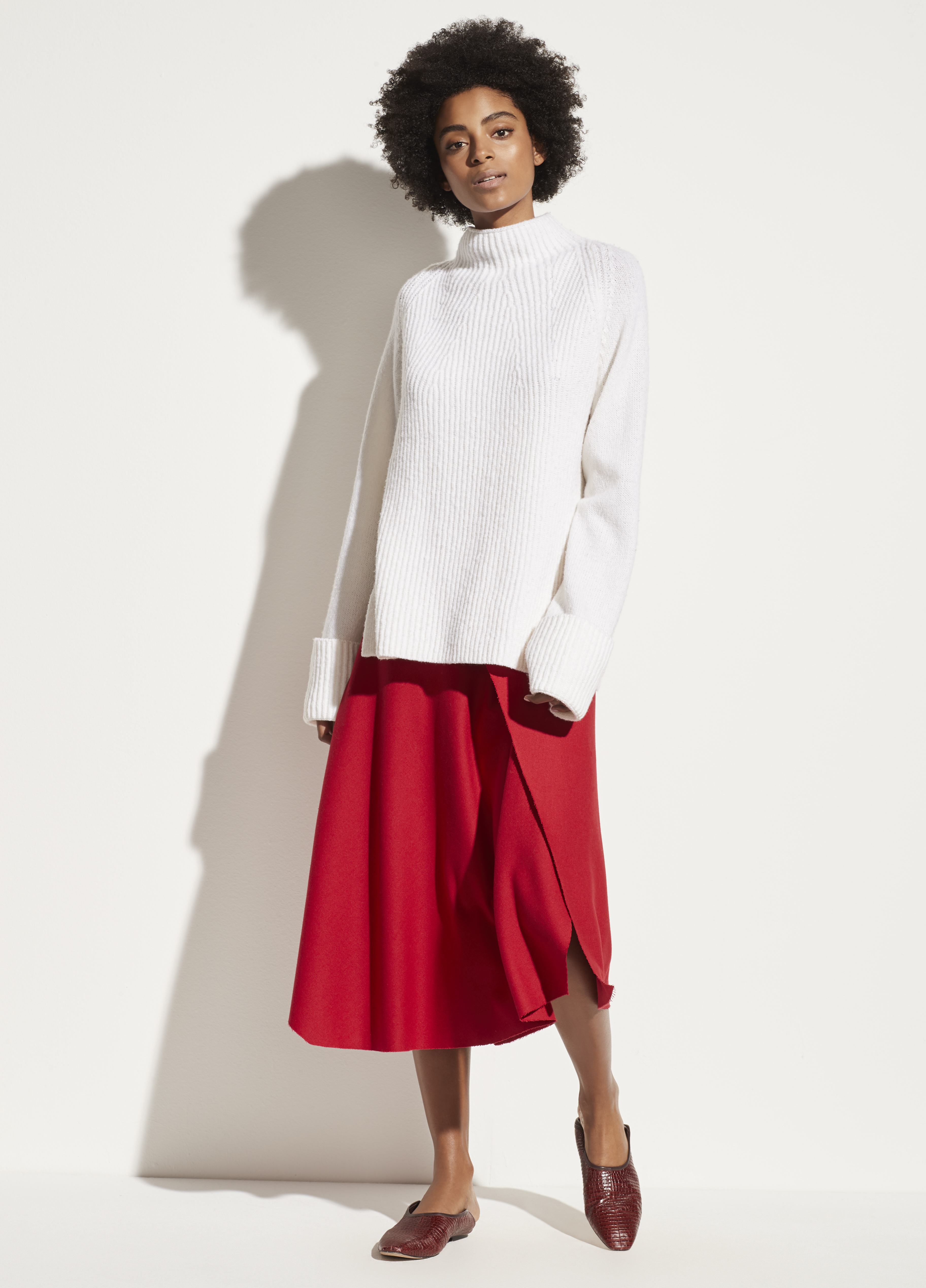 Mixed Stitch Funnel Neck Pullover