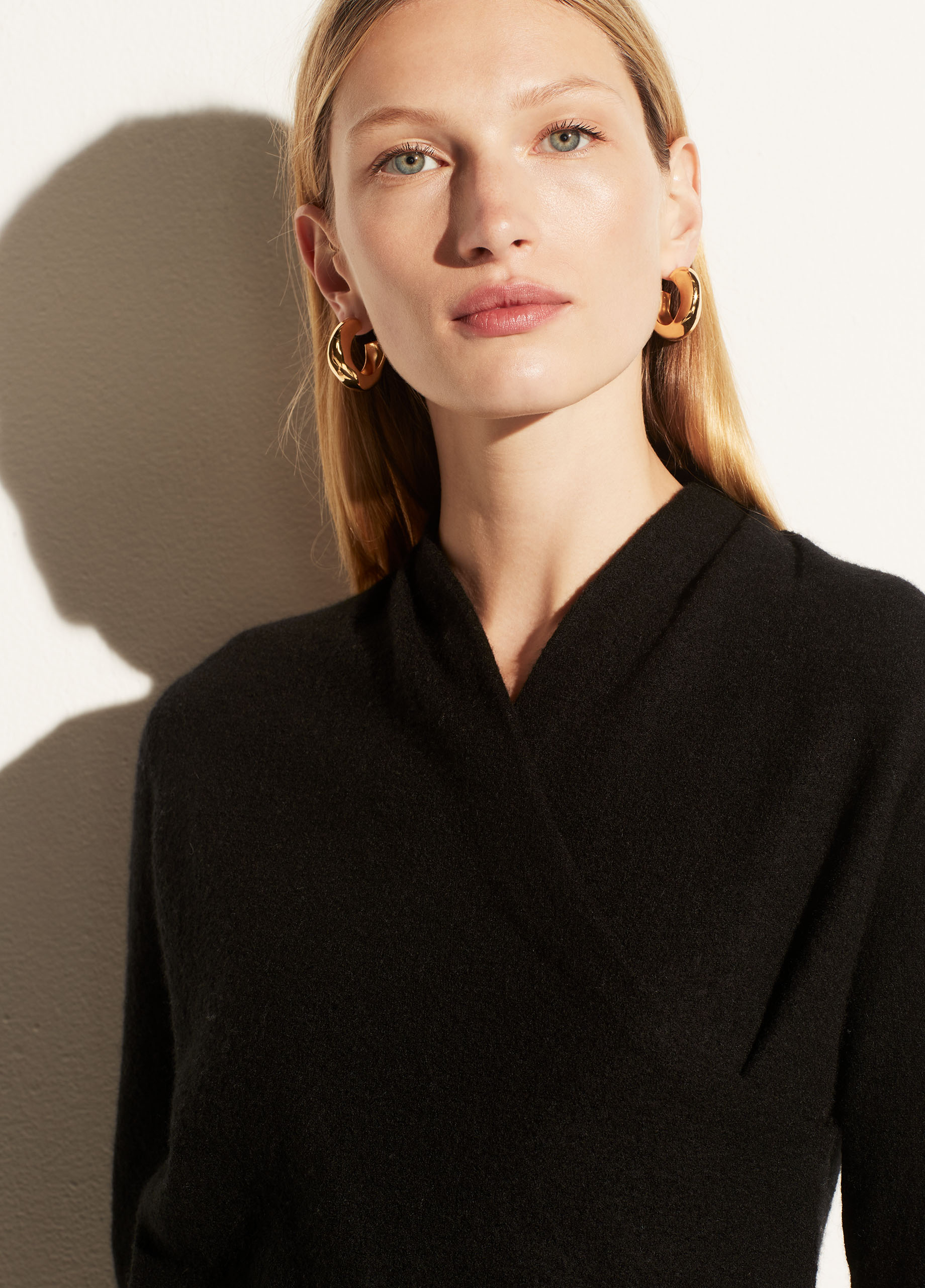 Boiled Cashmere Draped Neck Pullover