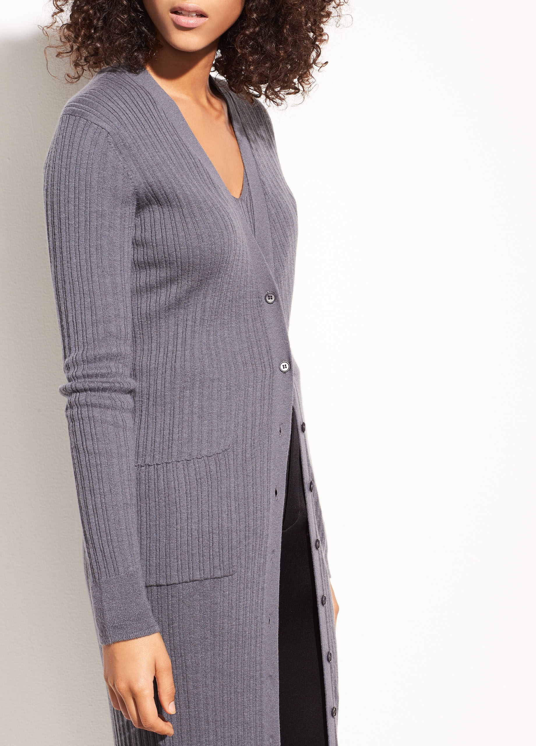 Mix Ribbed Cashmere V-neck