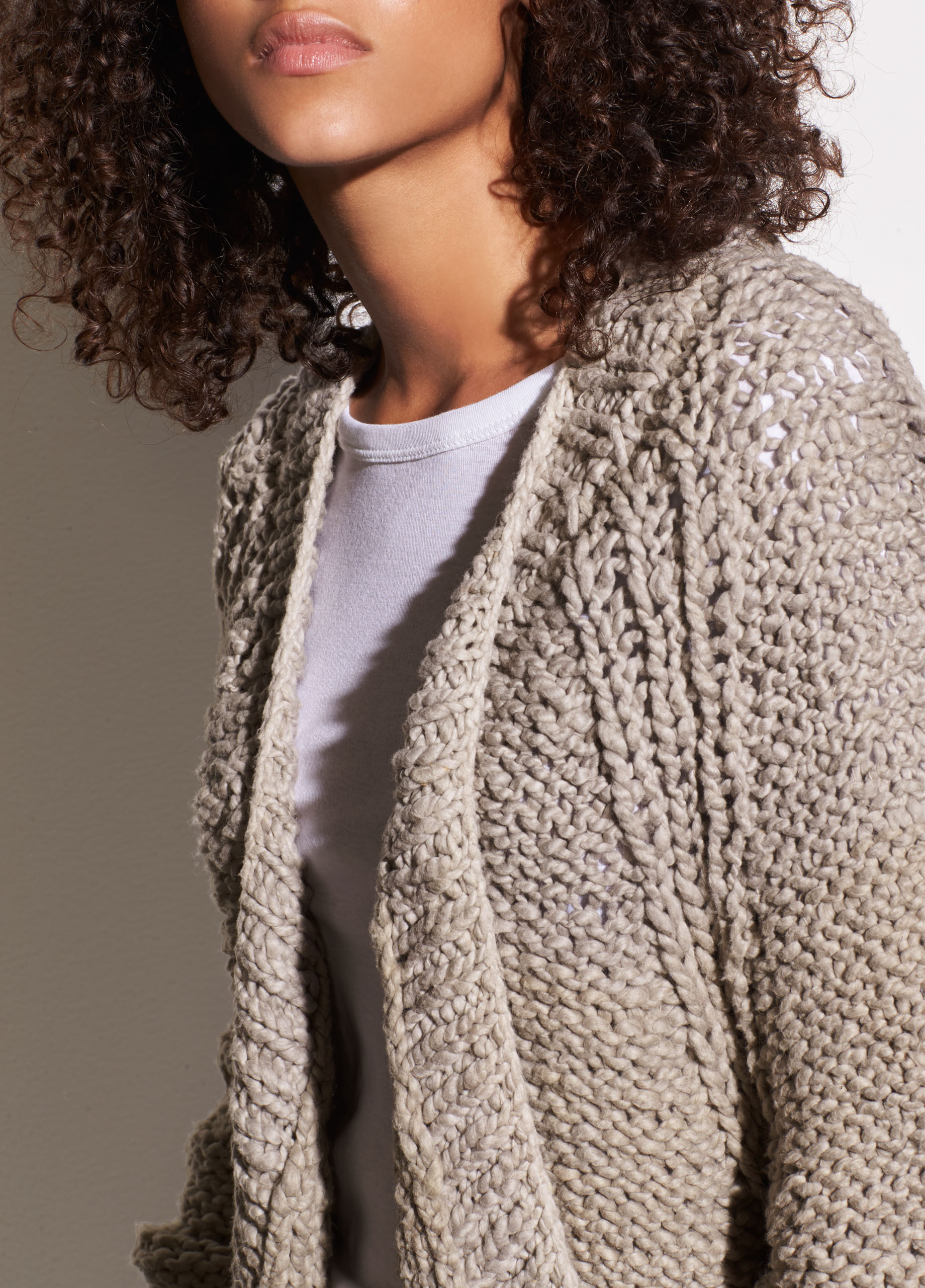 Hand-Knit Organic Cotton Chunky Cardigan for Women | Vince