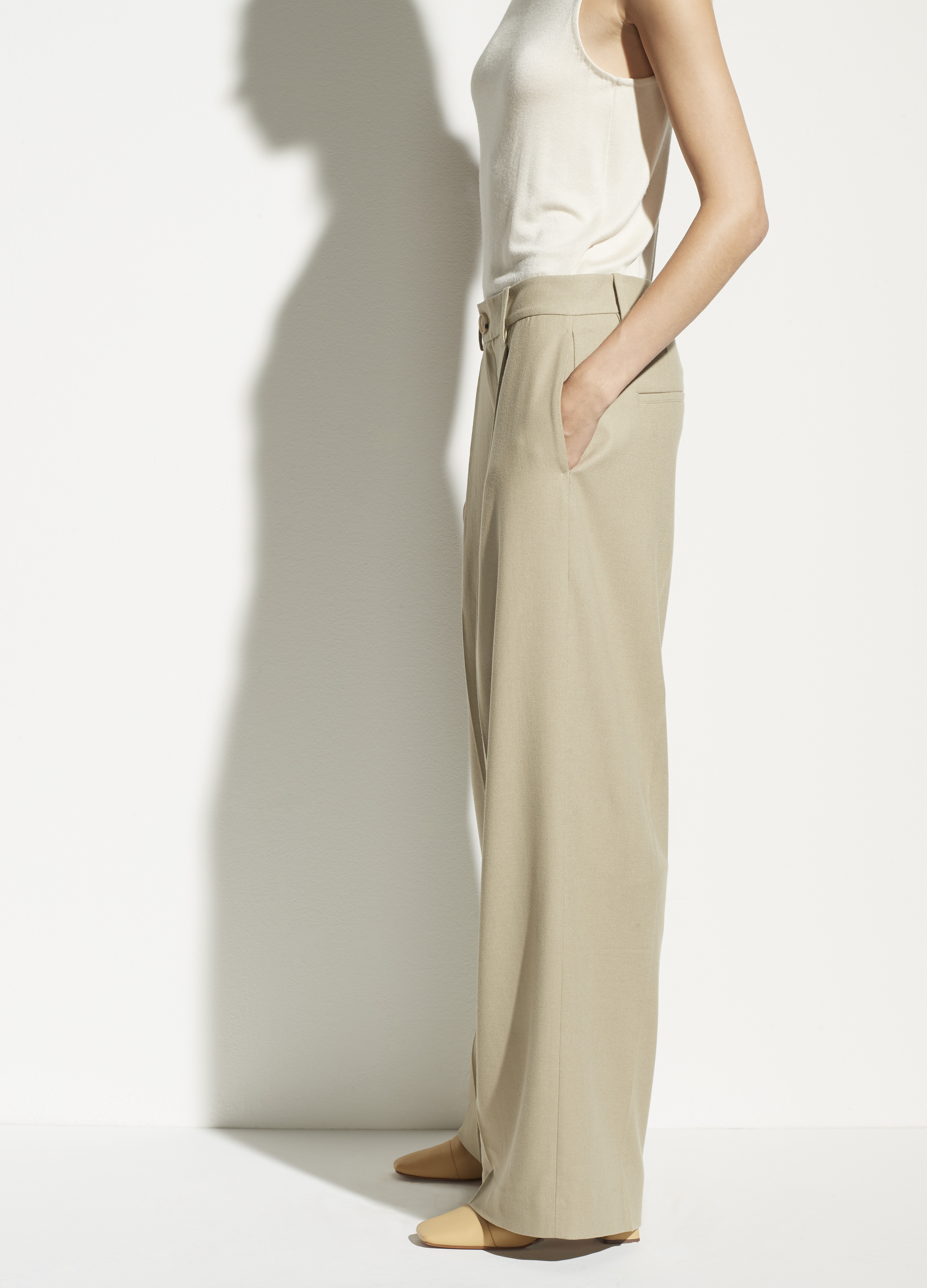 Pleated Flannel Wide Leg Pant