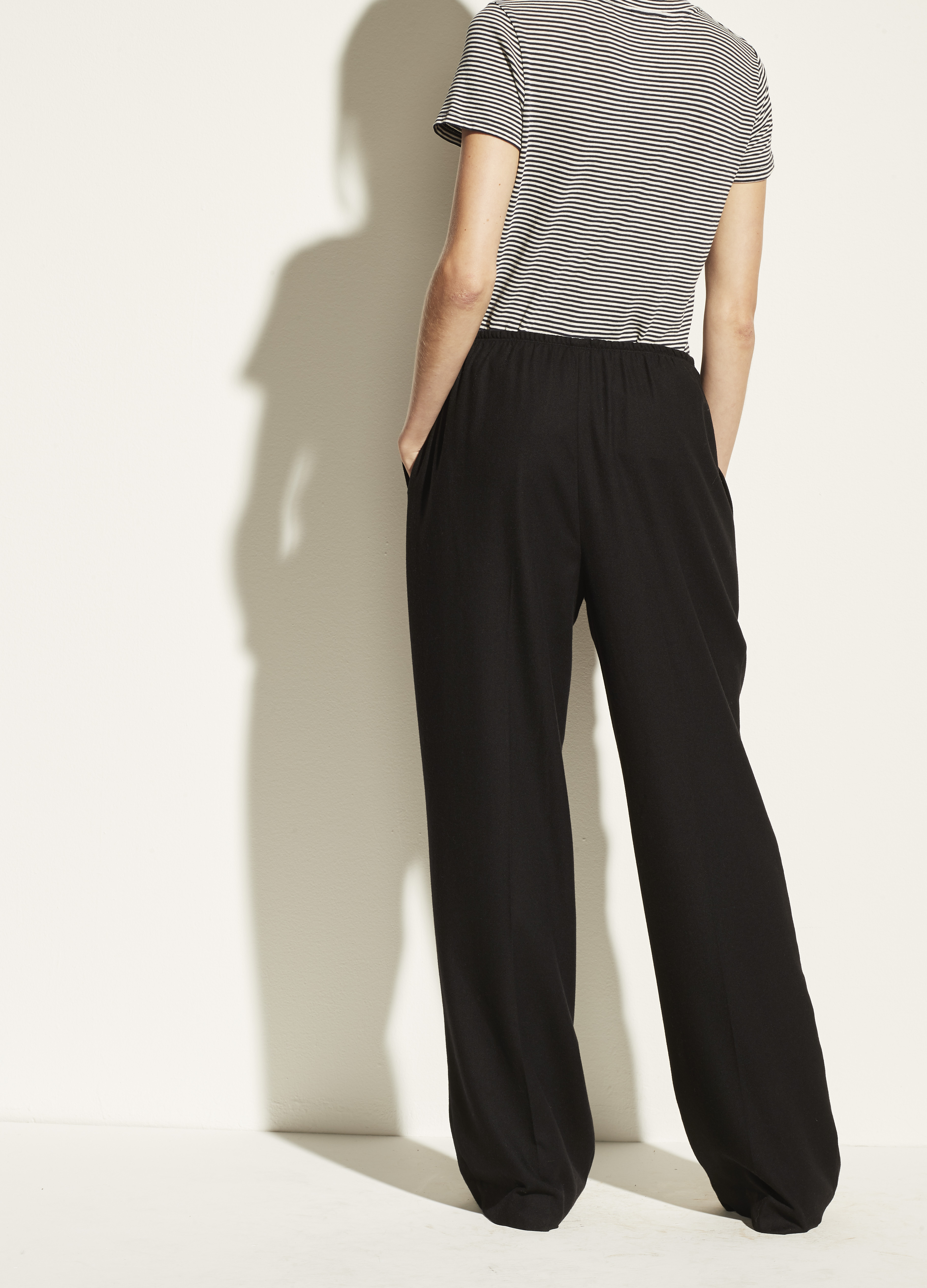 Wool Flannel Wide Leg Pull On Pant