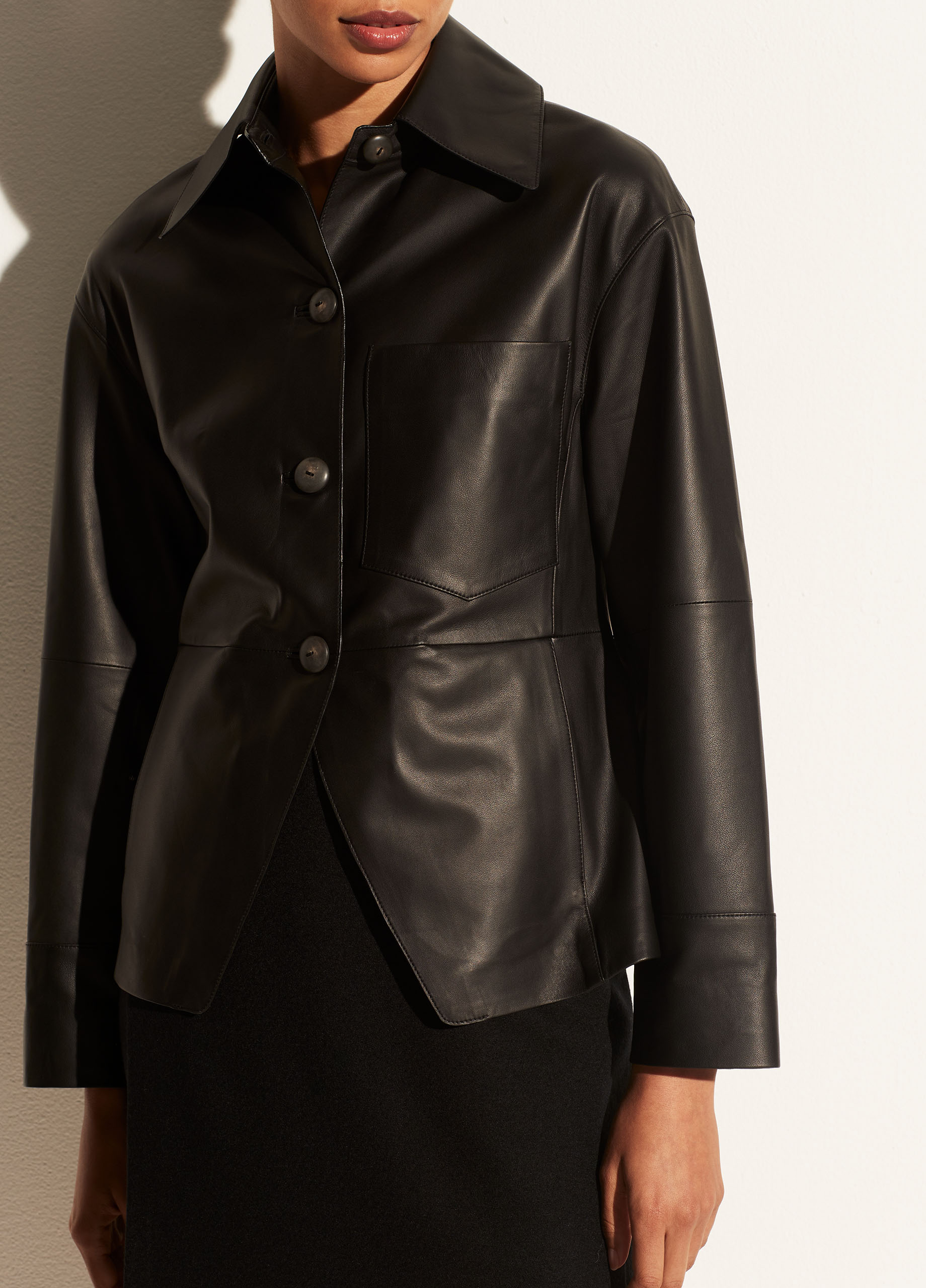 Cinched Leather Shirt Jacket