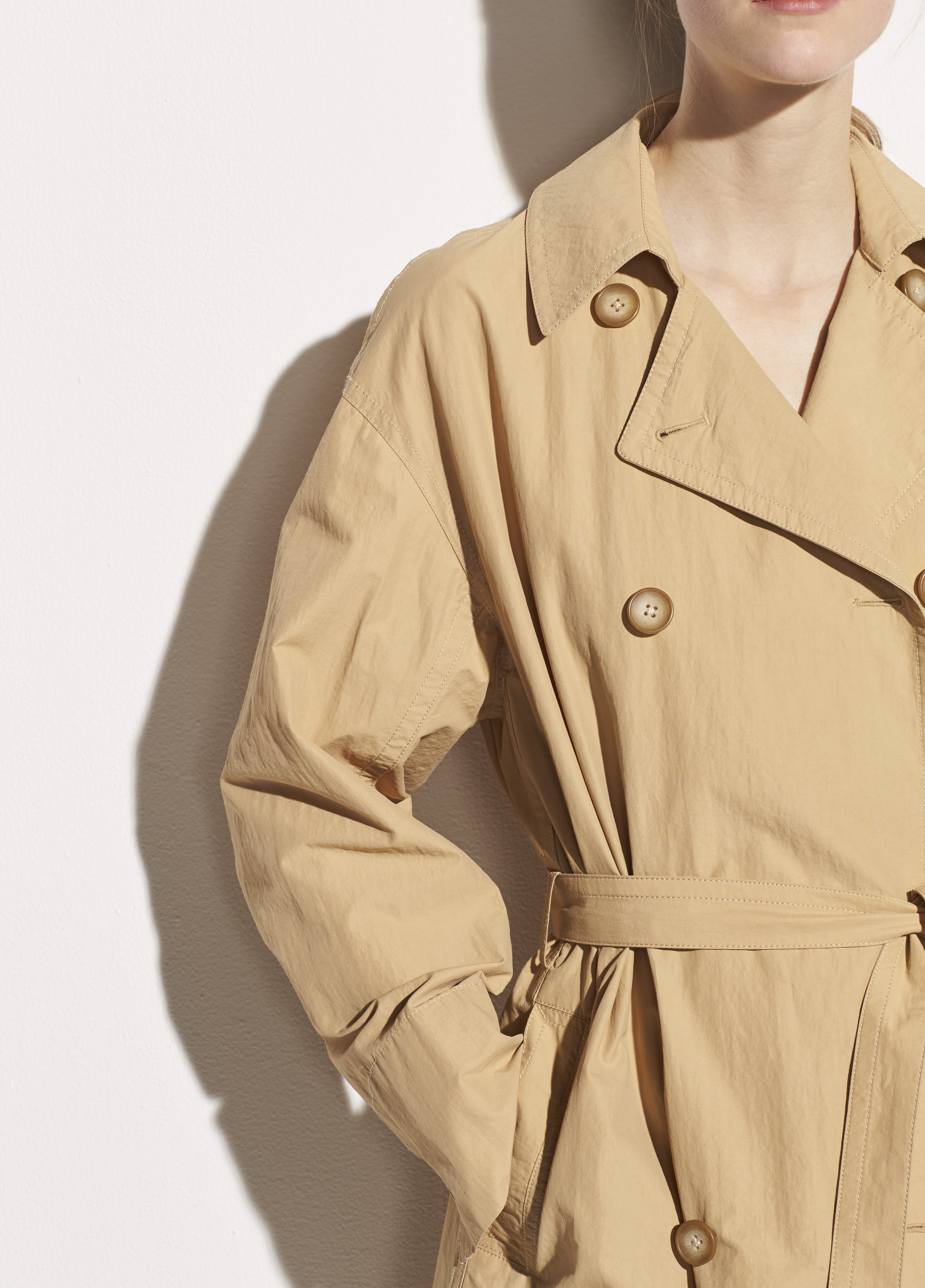Drapey Tech Faille Trench