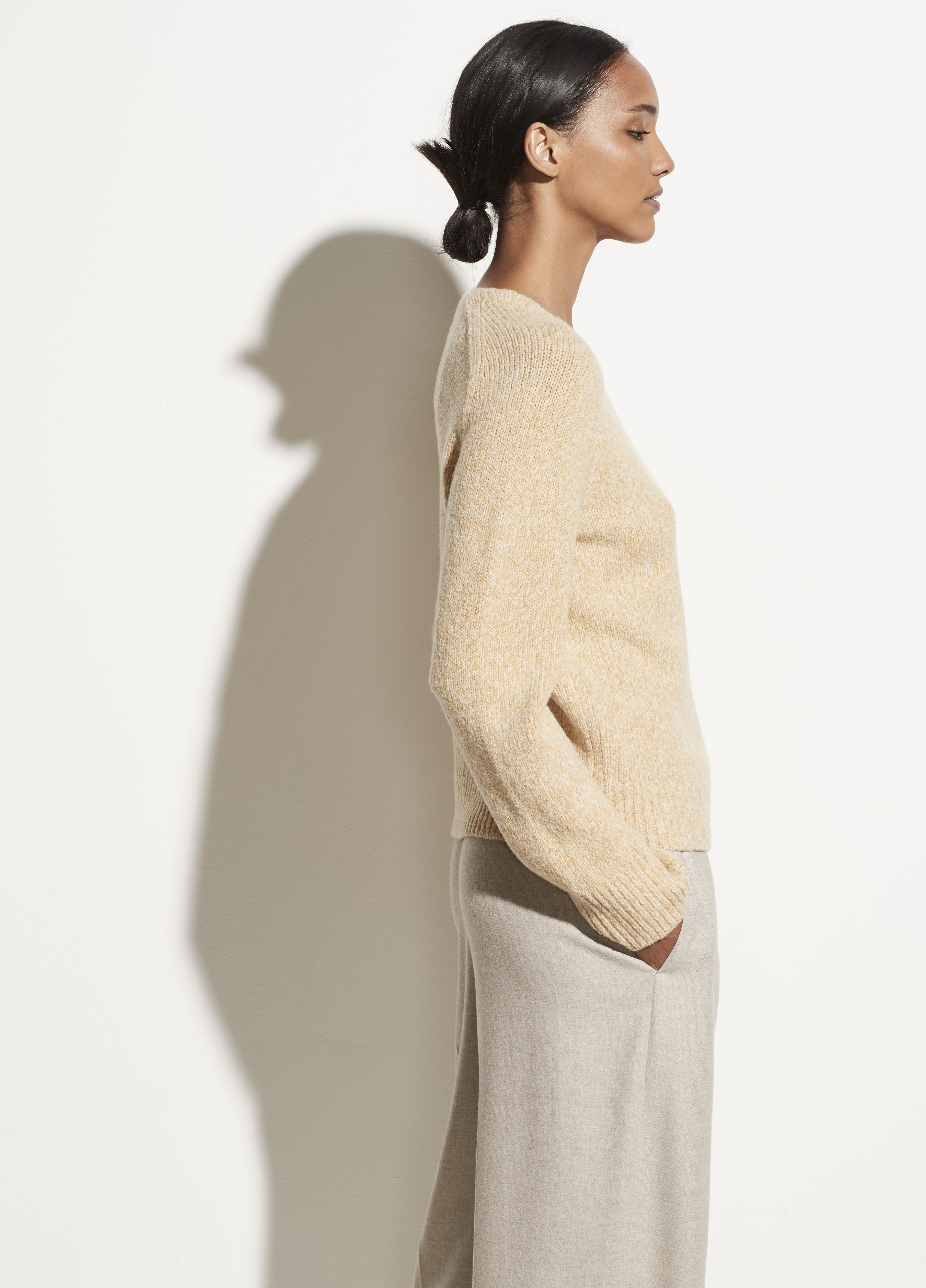 Cashmere Saddle Sleeve V-Neck Pullover