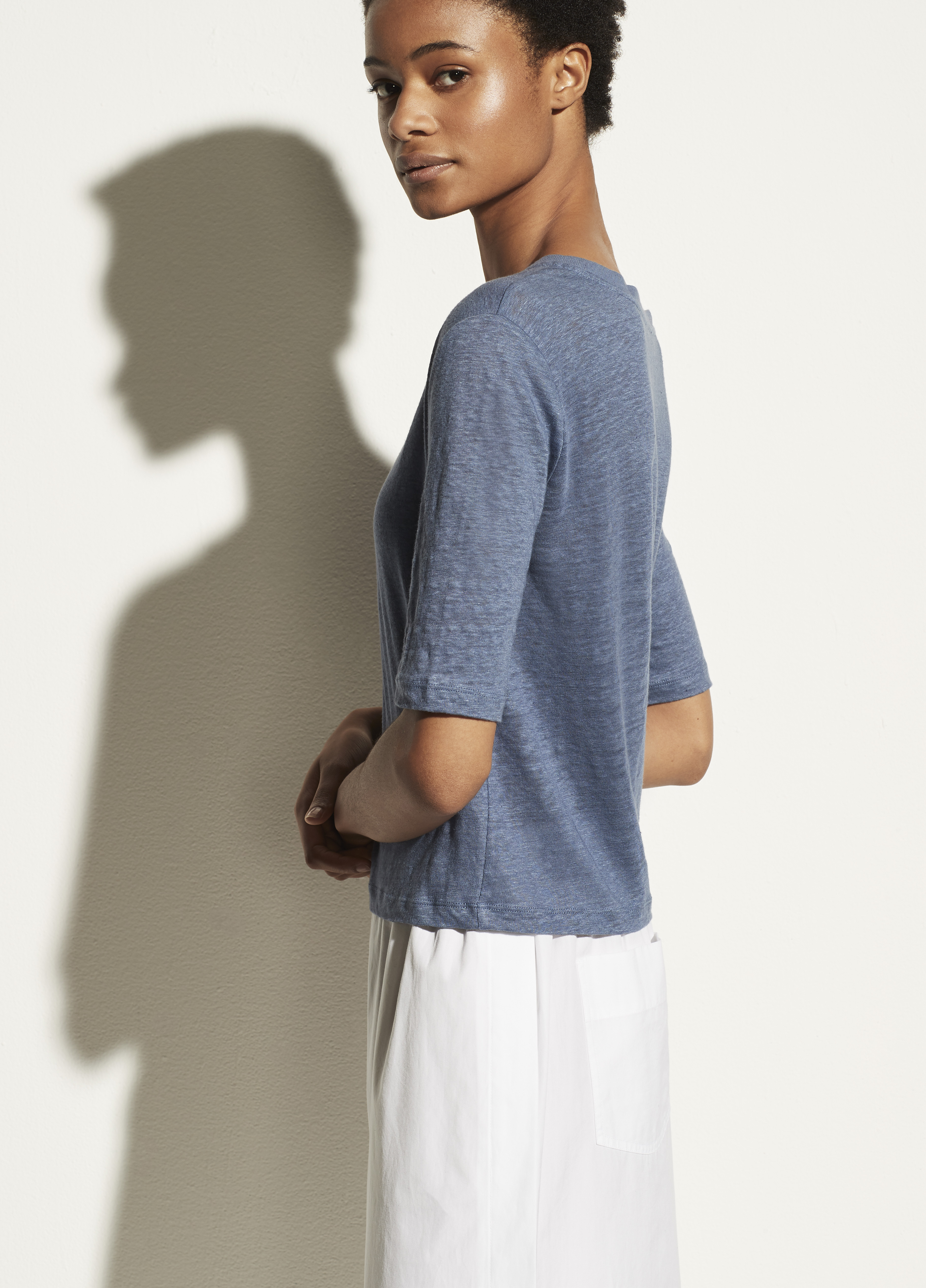 Linen Relaxed Elbow Sleeve Crew