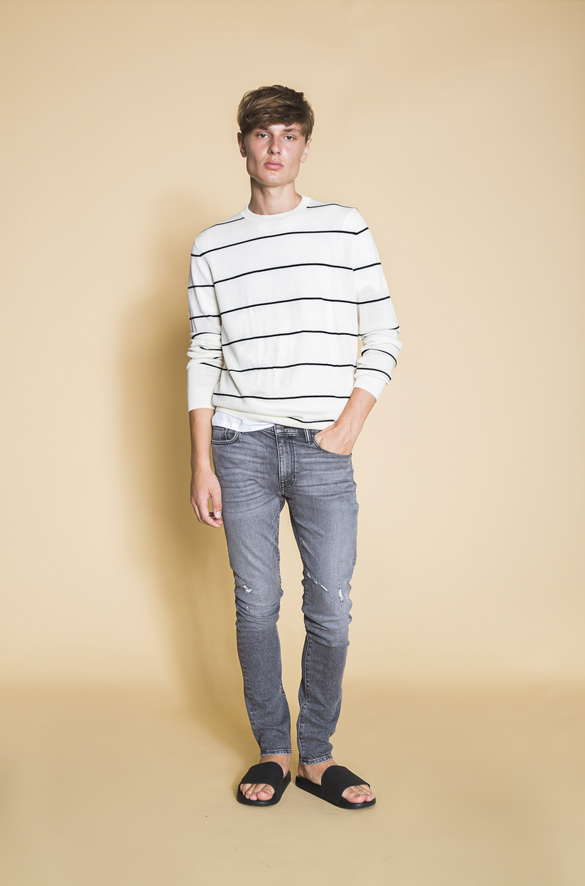 Striped Textured Merino Wool Crew Vince Arriving Soon for Men