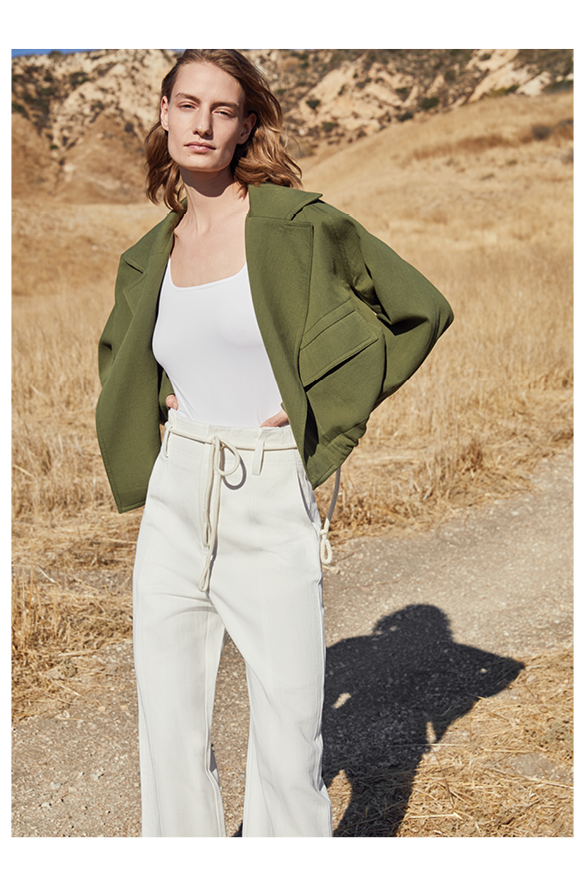 Cropped Cotton Lapel Jacket Vince Summer for Women
