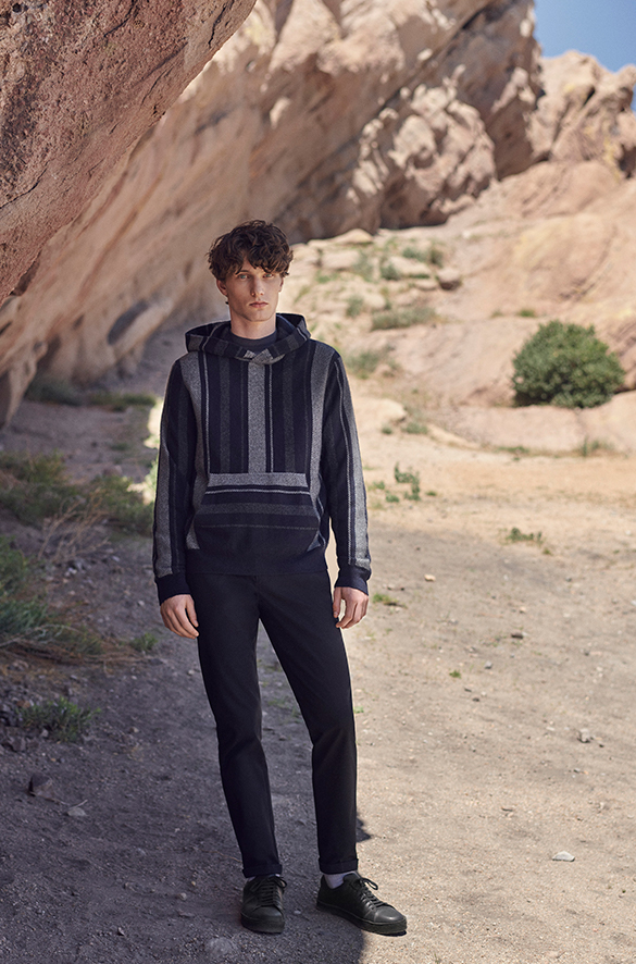 Boiled Cashmere Baja Stripe Hoodie Pre Spring 2018 Collection for Men